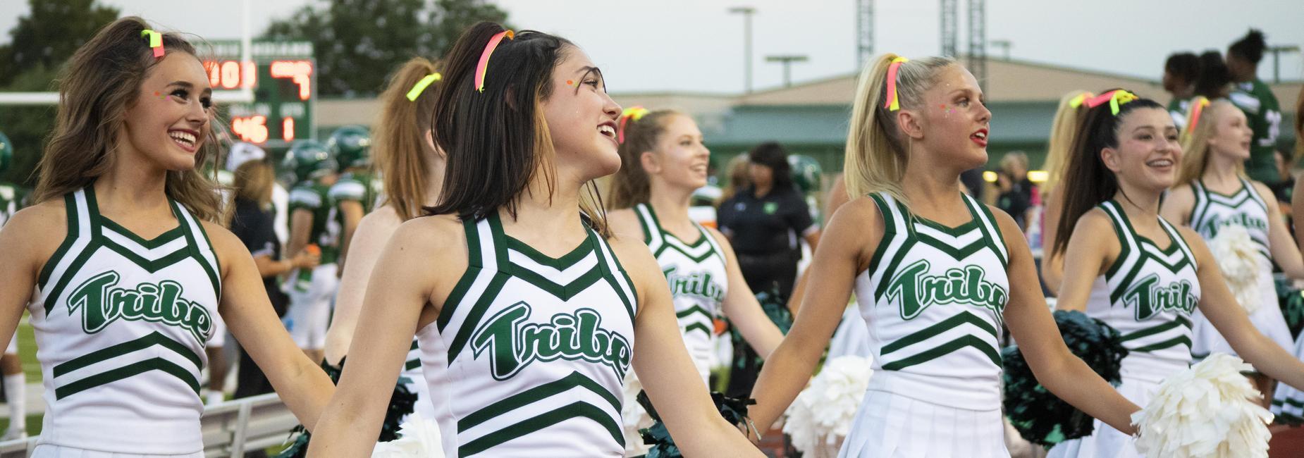 cheerleaders in uniform cheering during the game