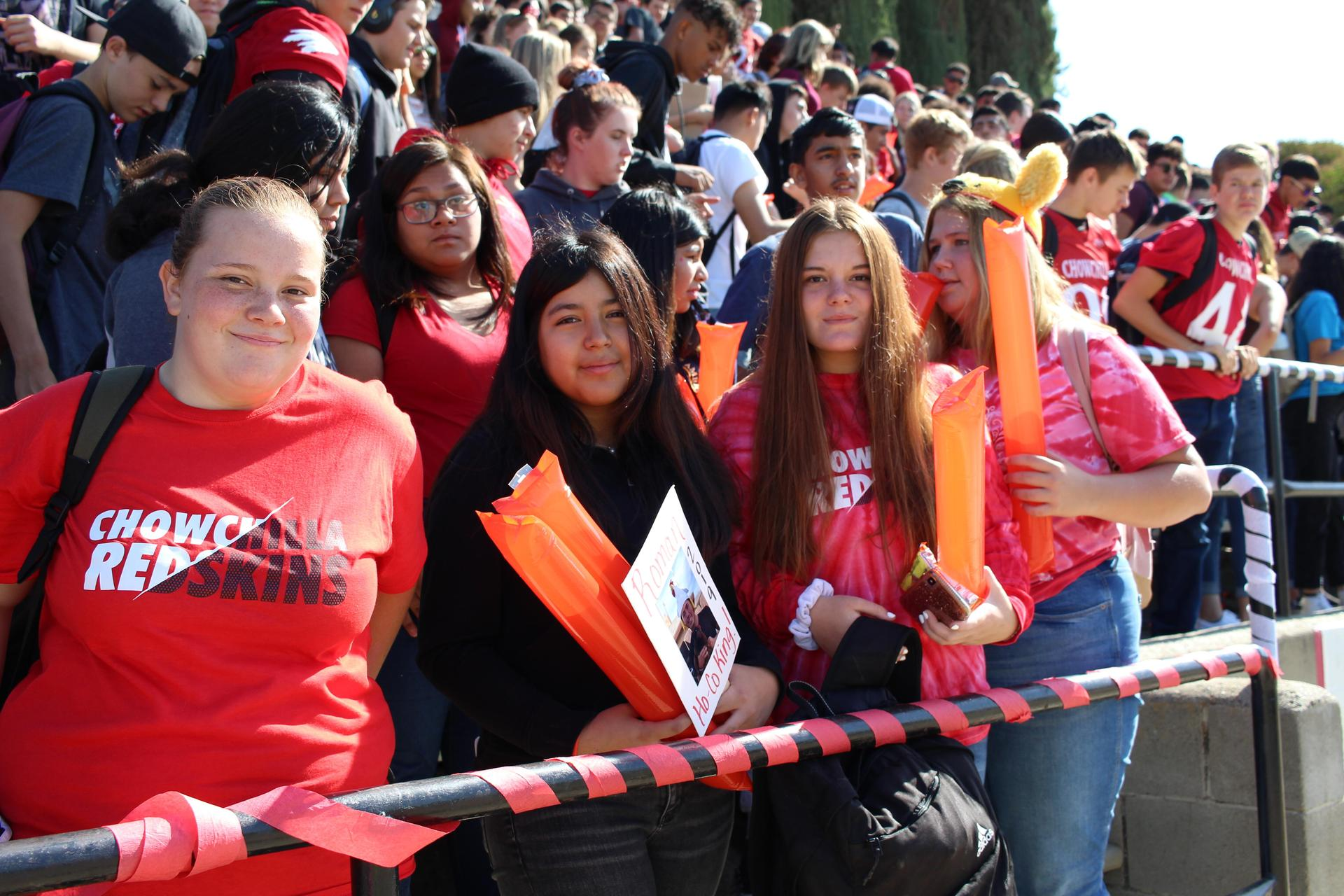 Students at Homecoming Rally