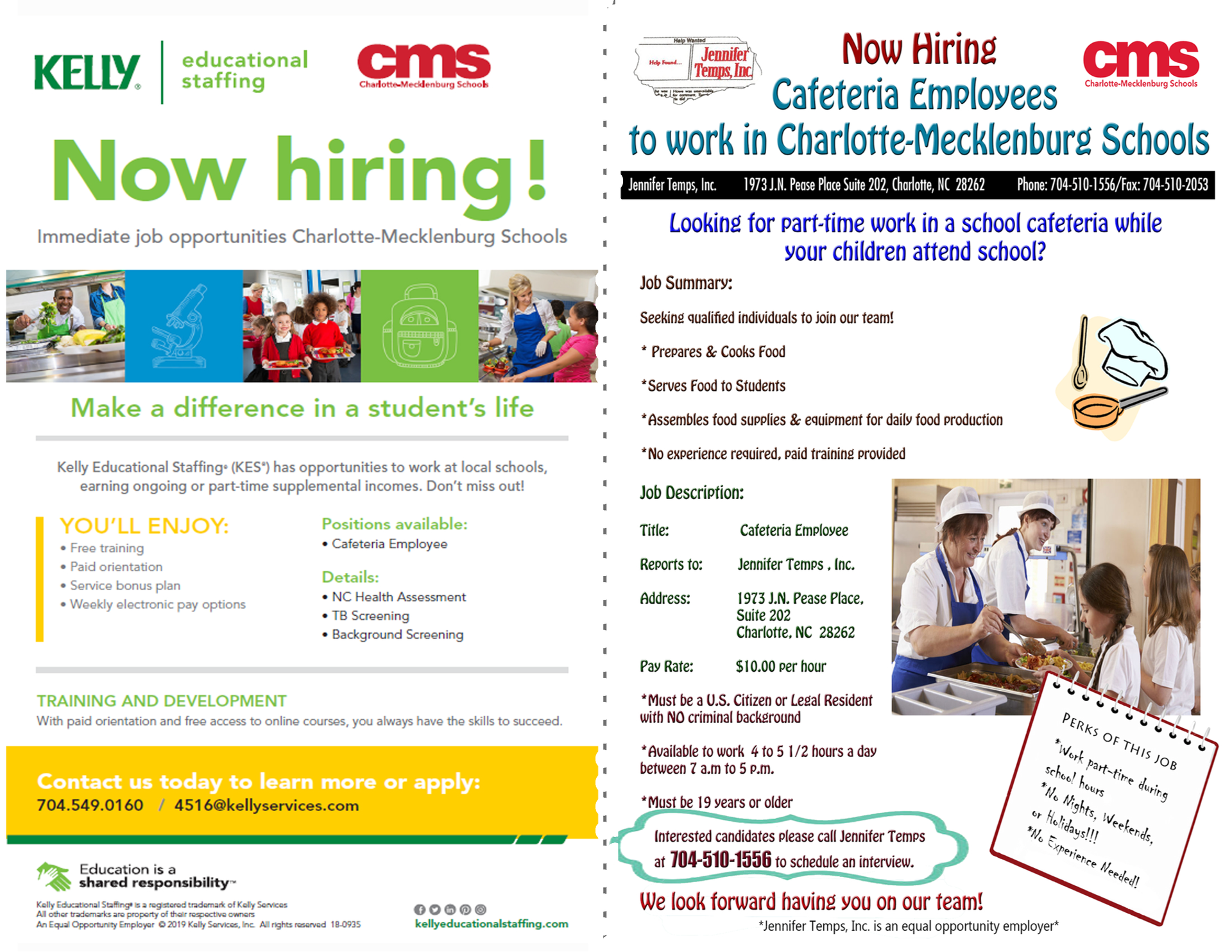 School Nutrition Staffing Flyer