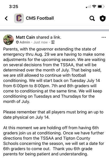 From Coach Cain/TSSAA on Extended State of Emergency