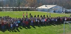 B-U Middle Students Observing a 21 Gun Salute
