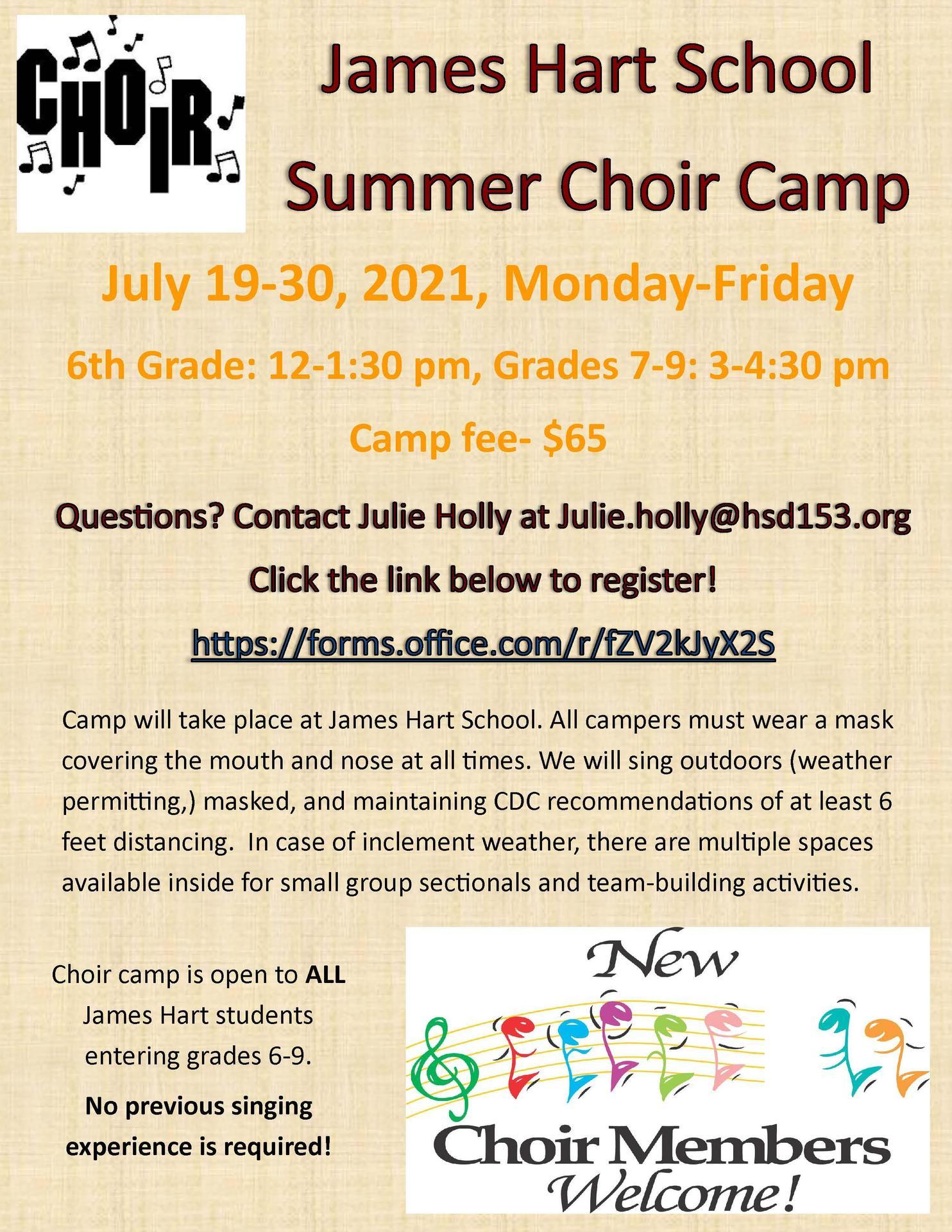 James Hart summer choir camp