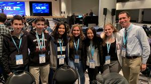 "(L-R) Aidan Berman, Cooper Harris, Karen Abaya, Anastasia Fowler, Grace Sacco, Roselyne Garabete, and WHS Assistant Principal Warren Hynes attended the ADL ""Never is Now"" Summit in New York City on Nov. 21."