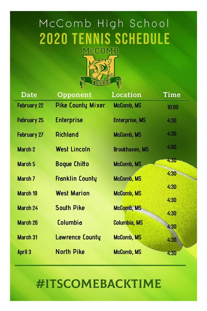 McComb High School Tennis Schedule 2020  #ItsComeBackTime