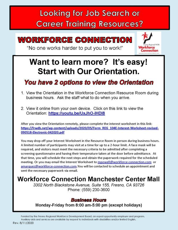 Career Training Resources flier
