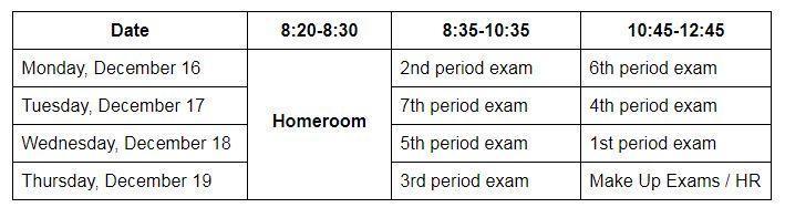 Winter 2019 Exam Schedule