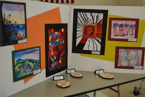 One of the art exhibits displayed