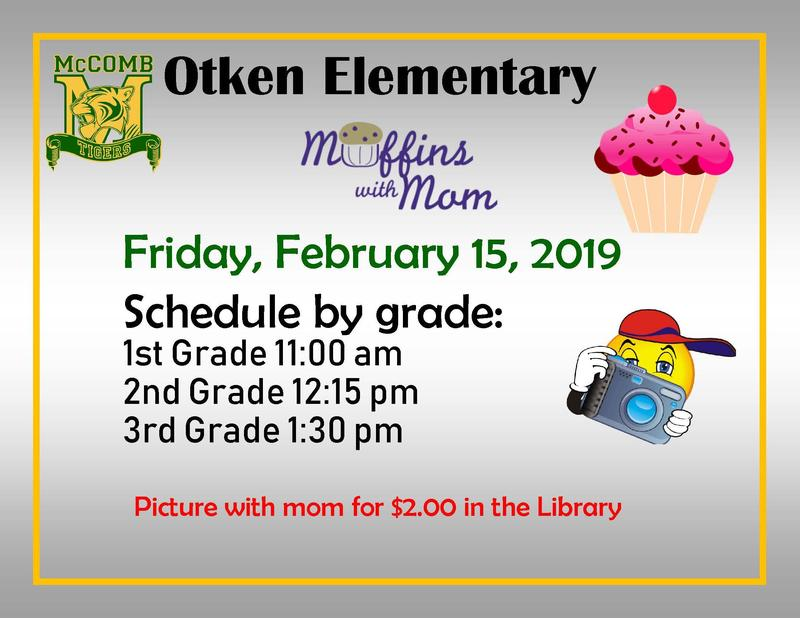 Announcement for Muffins with Moms at Otken Elementary 2019