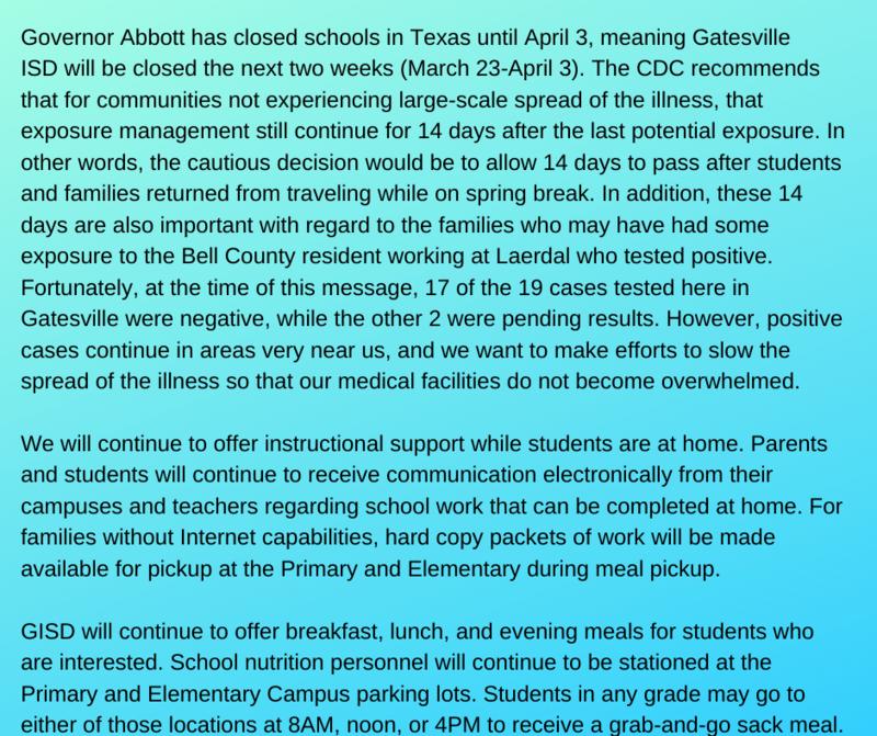 School Closure through April 3rd Featured Photo