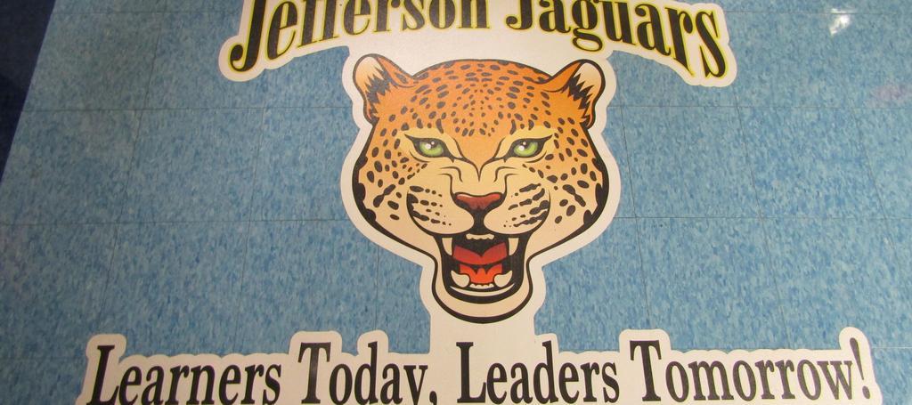 Jefferson Jaguars Learners today, Leaders Tomorrow floor logo