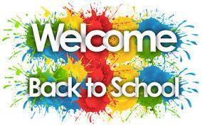 Welcome back to school text, colorful backdrop