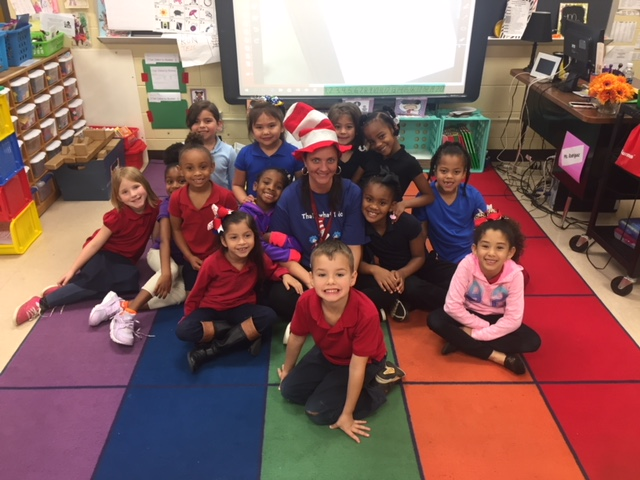 Cat in The Hat -Ms. Rodriguez celebrating Dr. Suess week with her students.