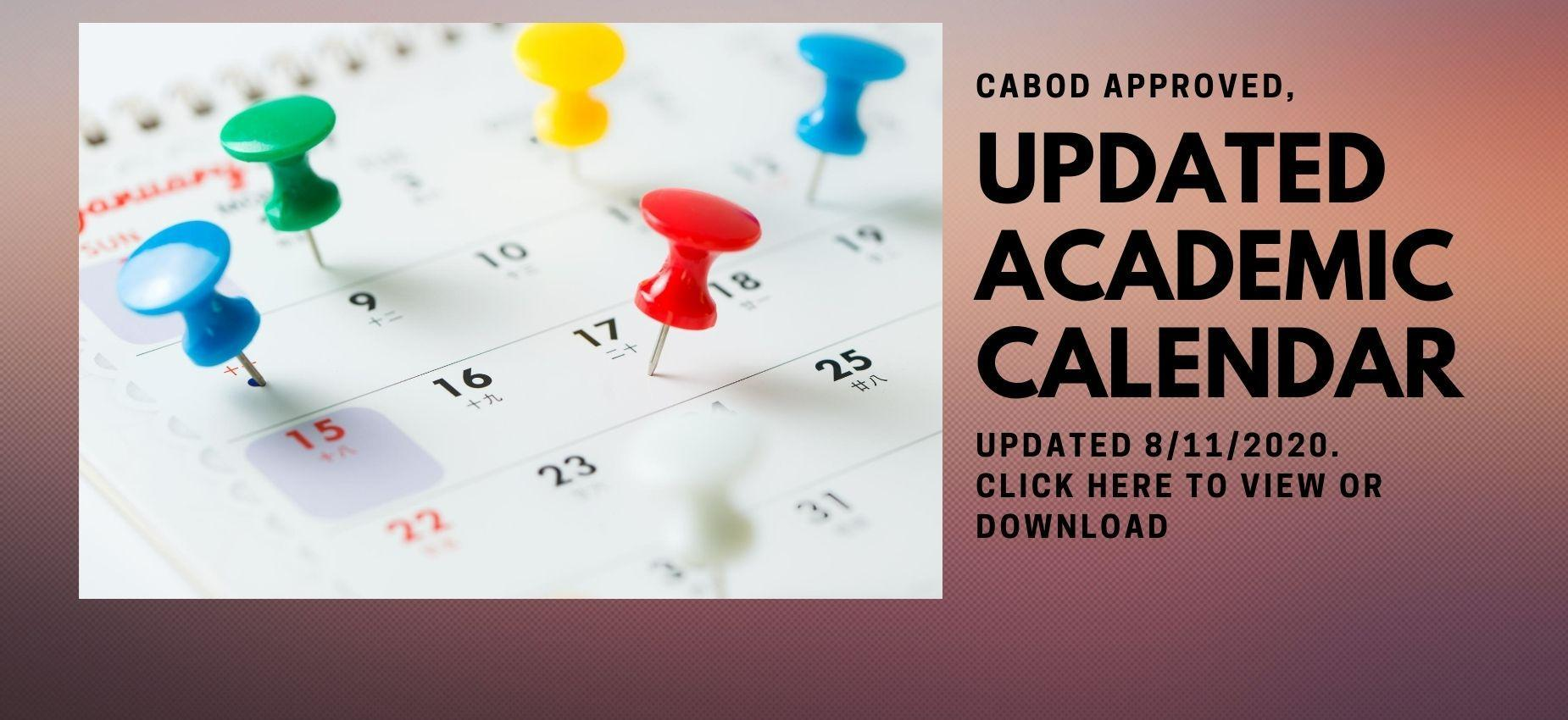 Click here for the updated 2020-2021 Academic Calendar