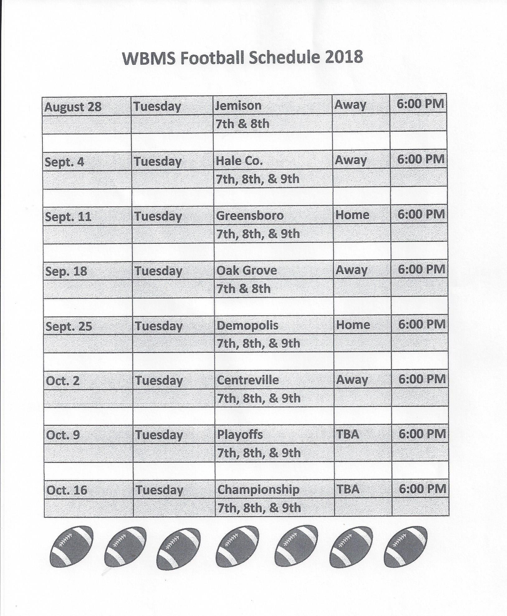 WBMS Football 2018 Schedule