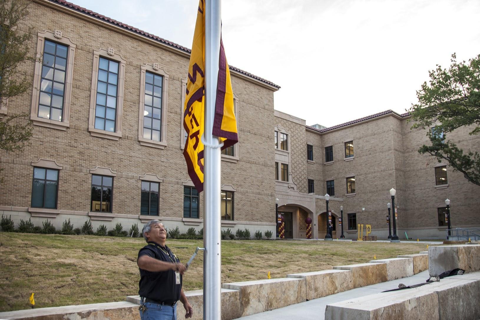 Raising the flag at University Park Elementary