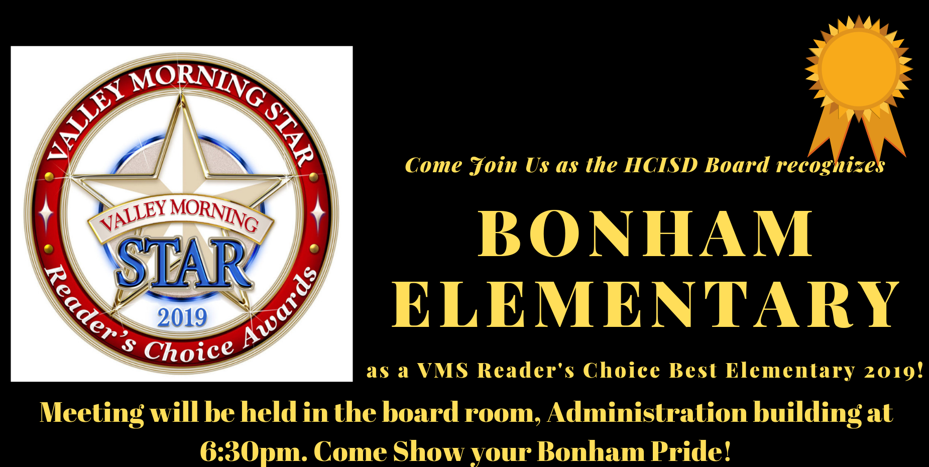Board Recognition tonight 6:30pm