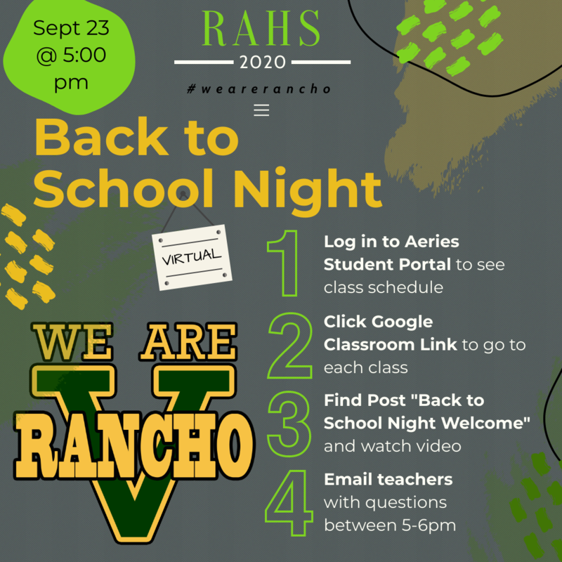 Virtual Back to School Night - Wednesday, September 23rd Featured Photo