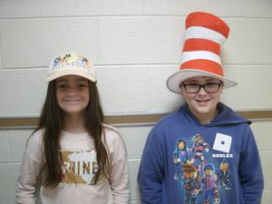 Students wearing hats on Hat Day.