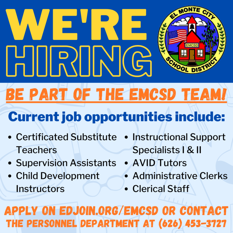 We're hiring. Be part of the EMCSD Team! Current job opportunities include: Certificated Substitute Teachers, Supervision Assistants, Child Development Instructors, Instructional Support Specialists I & II, AVID Tutors, Administrative Clerks, Clerical Staff Apply on EDJOIN.org/emcsd or contact the personnel department at (626) 453-3727