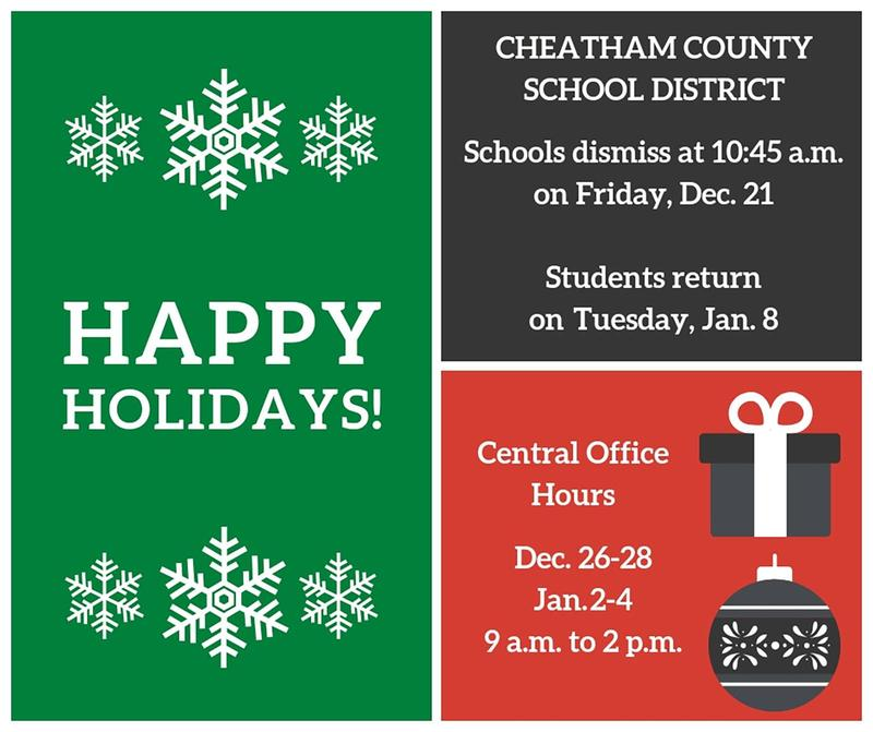 The winter break schedule for the Cheatham County School District.