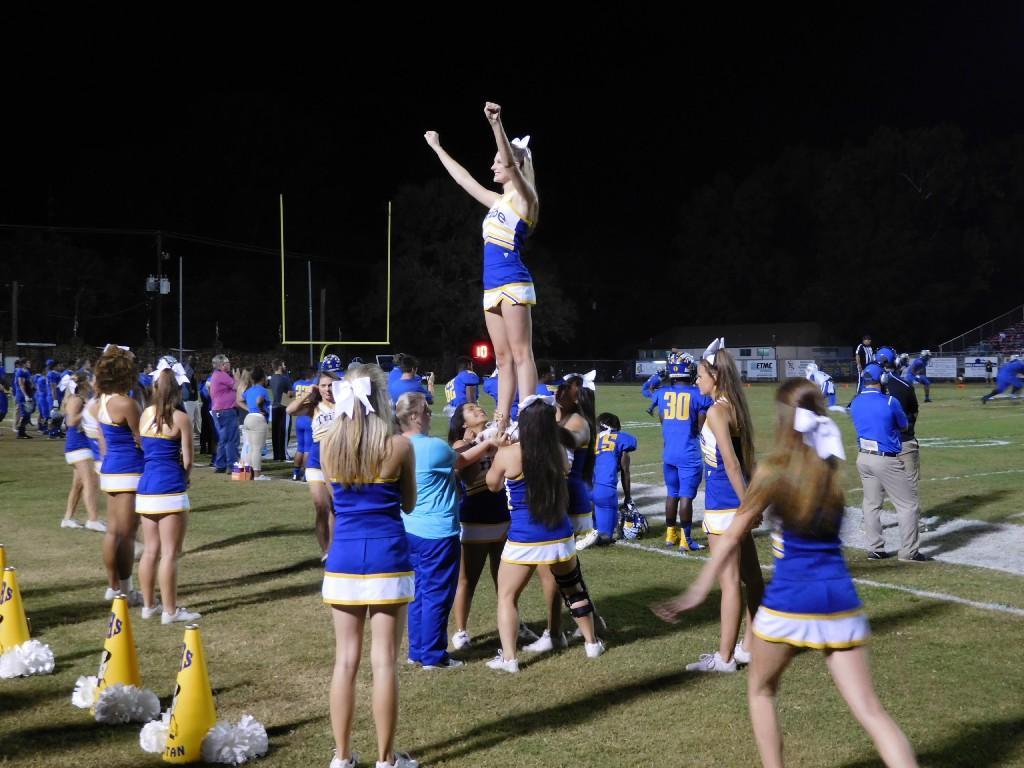 cheerleaders at a game