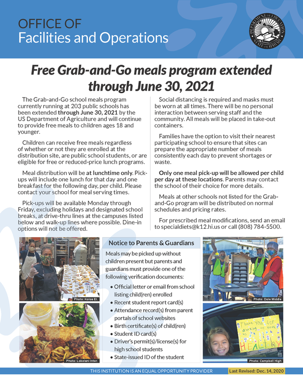 Grab and Go Meals Extended through June 30, 2021 Featured Photo