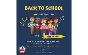 Back to school meet and greet scheduled for Wednesday, July 28th from 11-1 or 4-6.