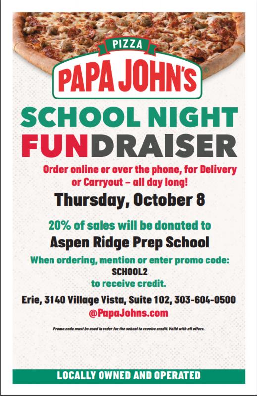 Papa John's fundraiser flyer
