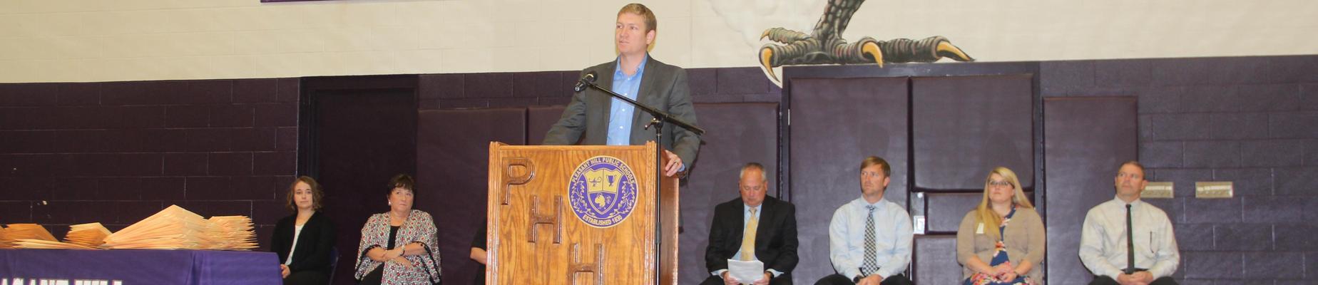 Jesse Hartter, PHHS Graduate speaks at Academic Letter Assembly