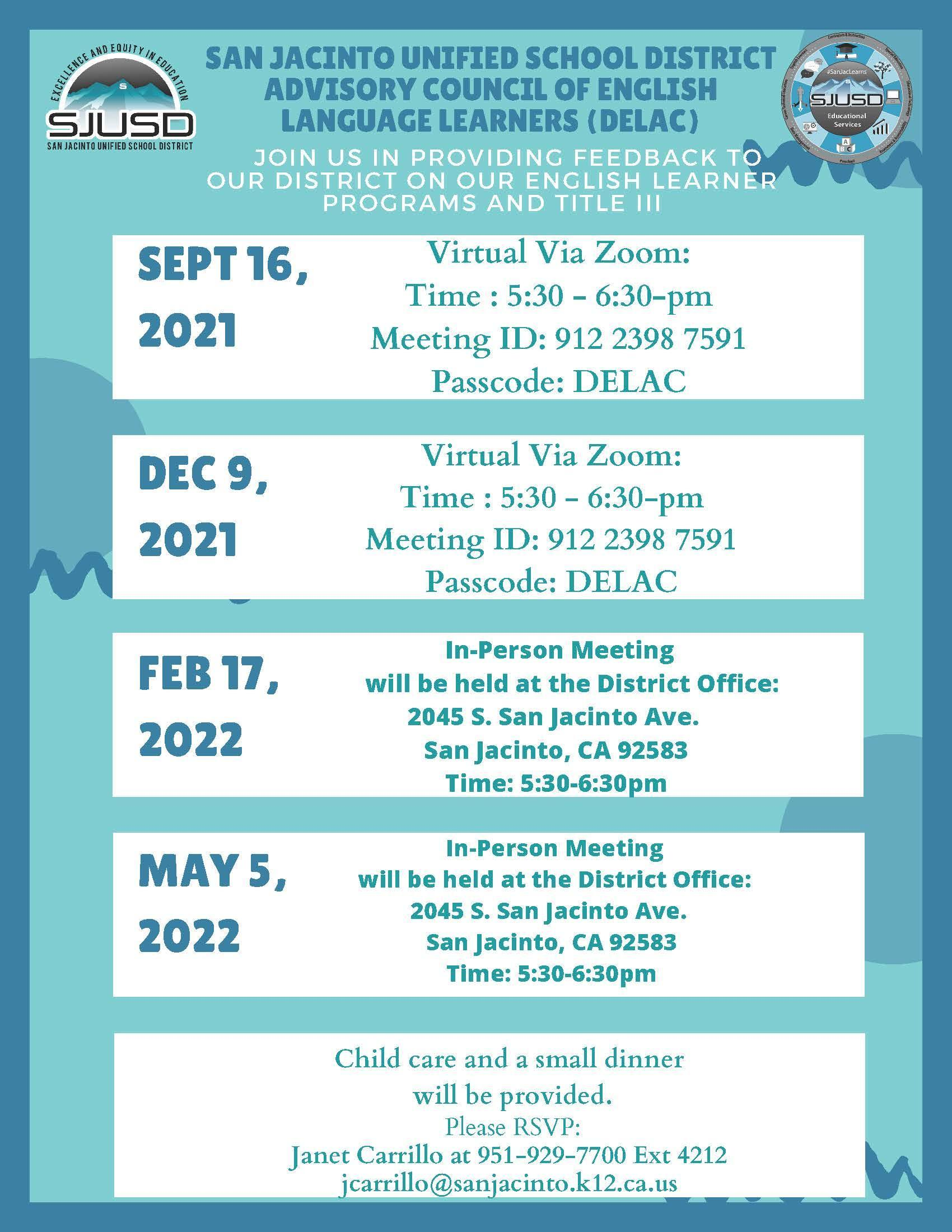 DELAC Flyer with meeting info for 2021-2022