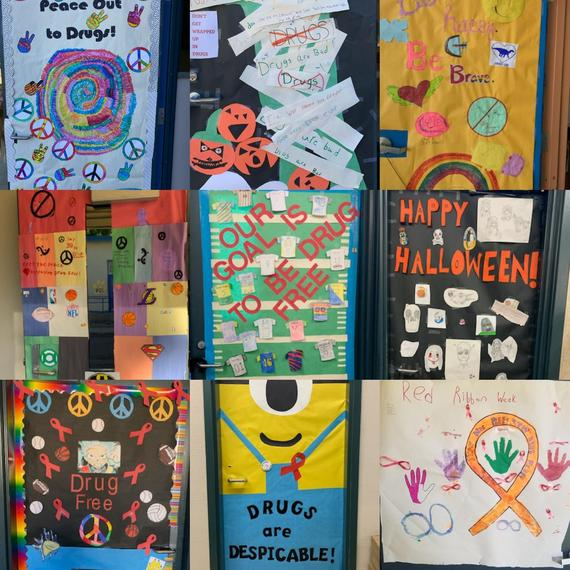 Red Ribbon Week Door Decorations