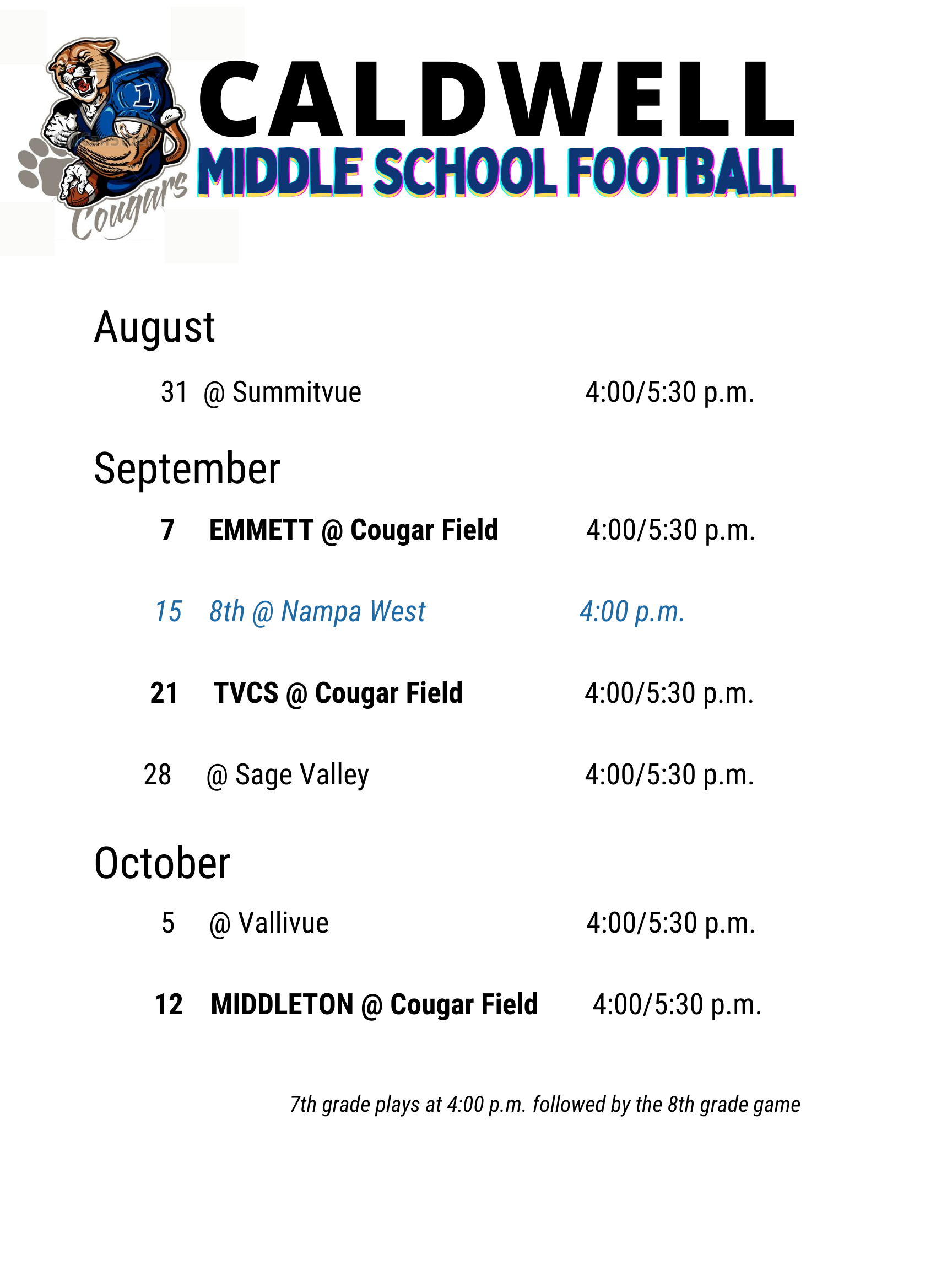 fb schedule