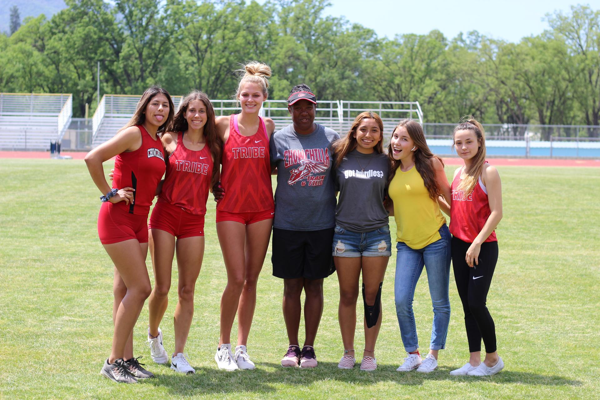 Coach and Senior Girls at track and Field NSL Championships