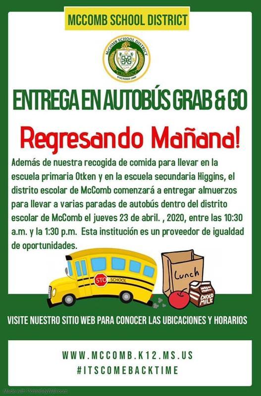 Entrega en autobús para llevar y devoluciones 23 de abril de 2020