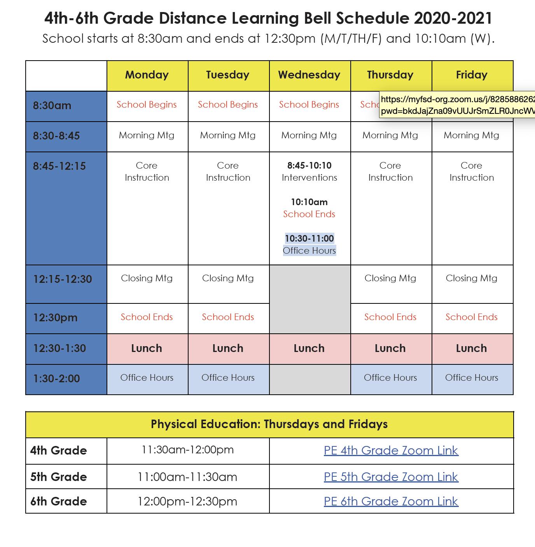 upper schedule