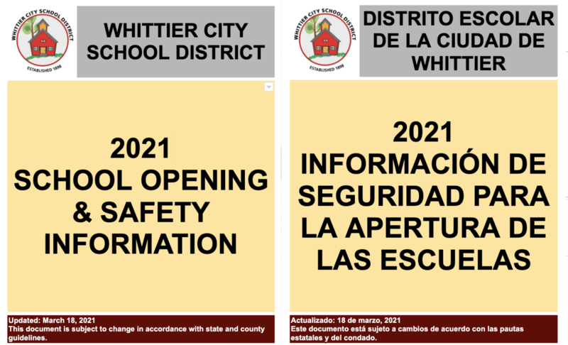 School Opening & Safety Information