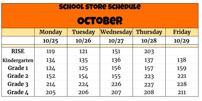 School Store Schedule for October Featured Photo