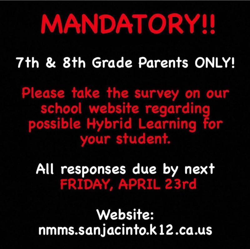 MANDATORY 7TH & 8TH GRADE PARENT SURVEY