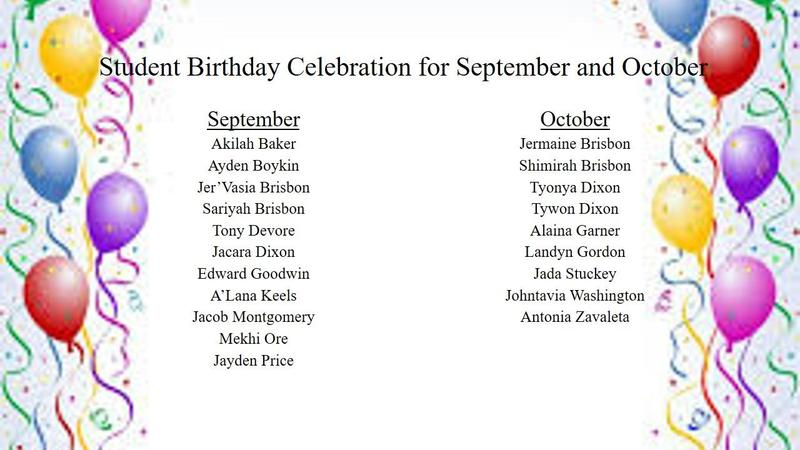 Student Birthday Celebration September and October