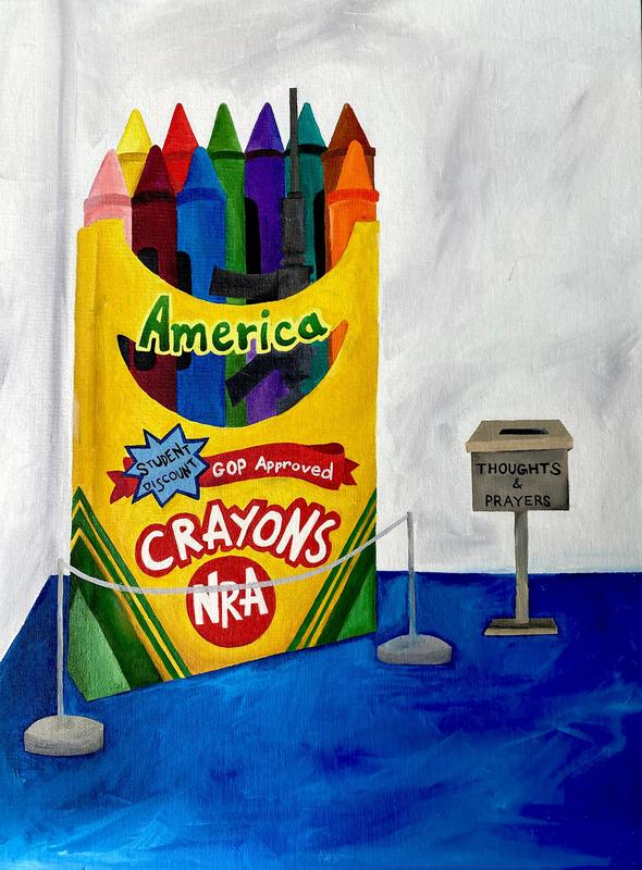 painting of crayons