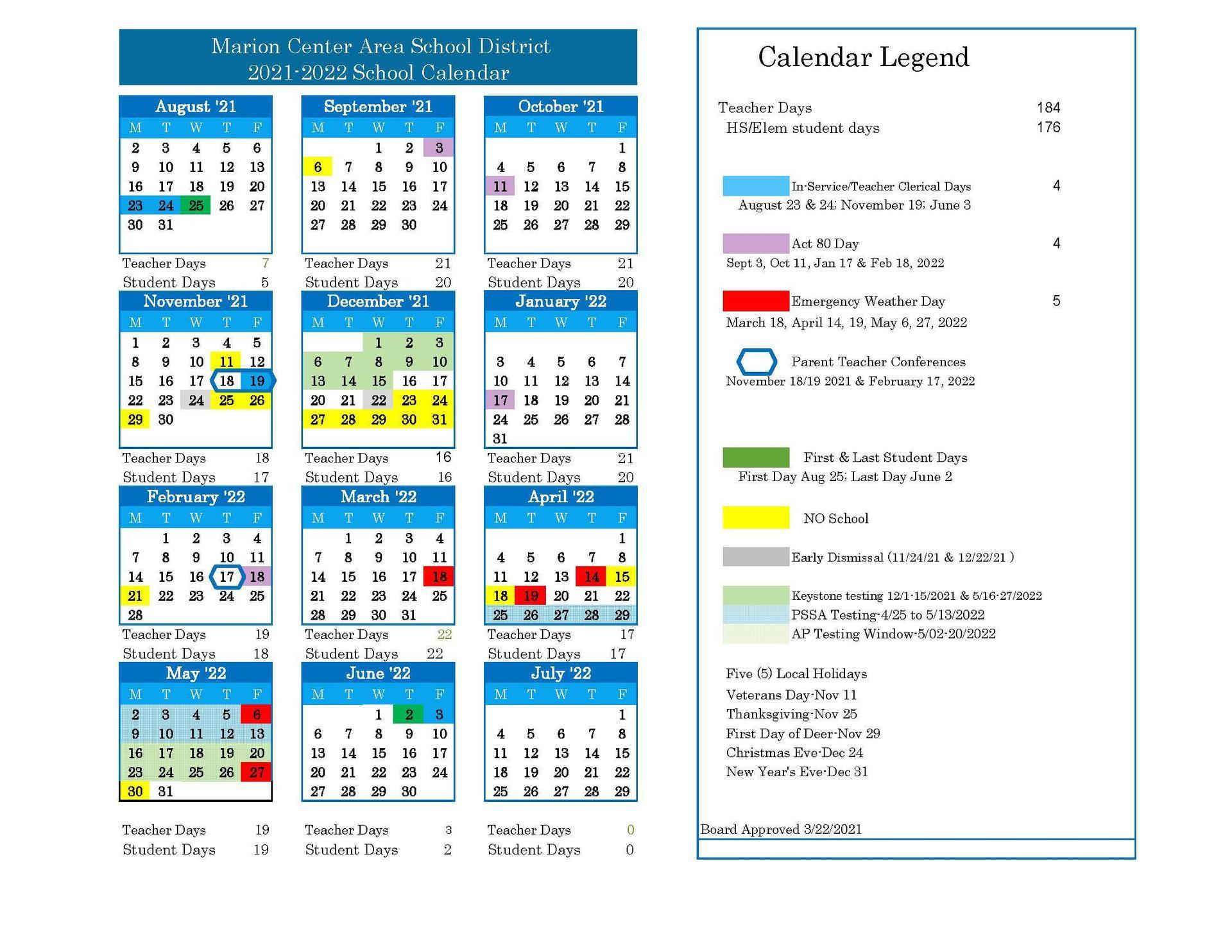 20-22 School calendar