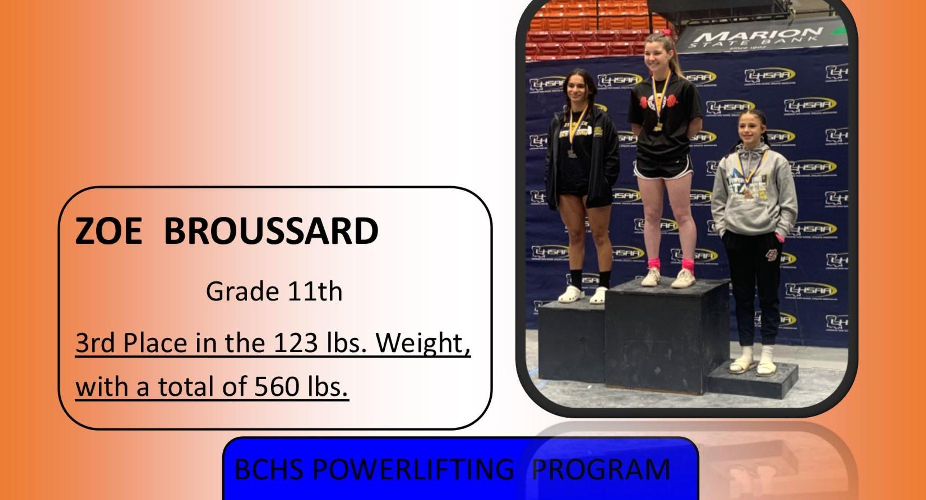 Zoe Broussard - Powerlifting Results