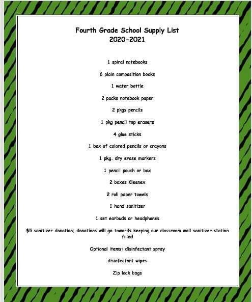 4th grade supply list