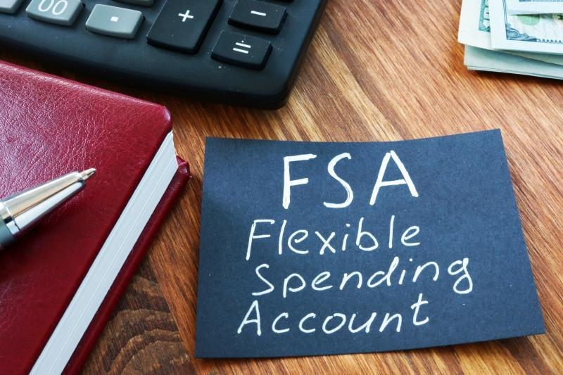 Text sign showing hand written words FSA flexible spending account