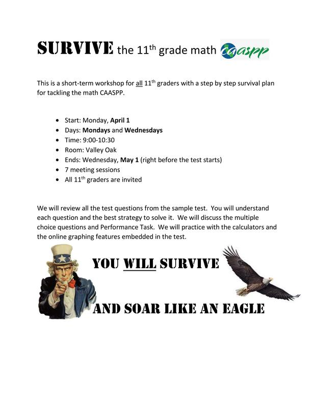 Survive the 11th Grade Math CAASPP
