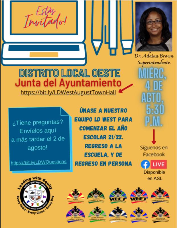 Reunión del Ayuntamiento del Distrito Local Oeste 4 de agosto de 2021 5:30 pm Featured Photo