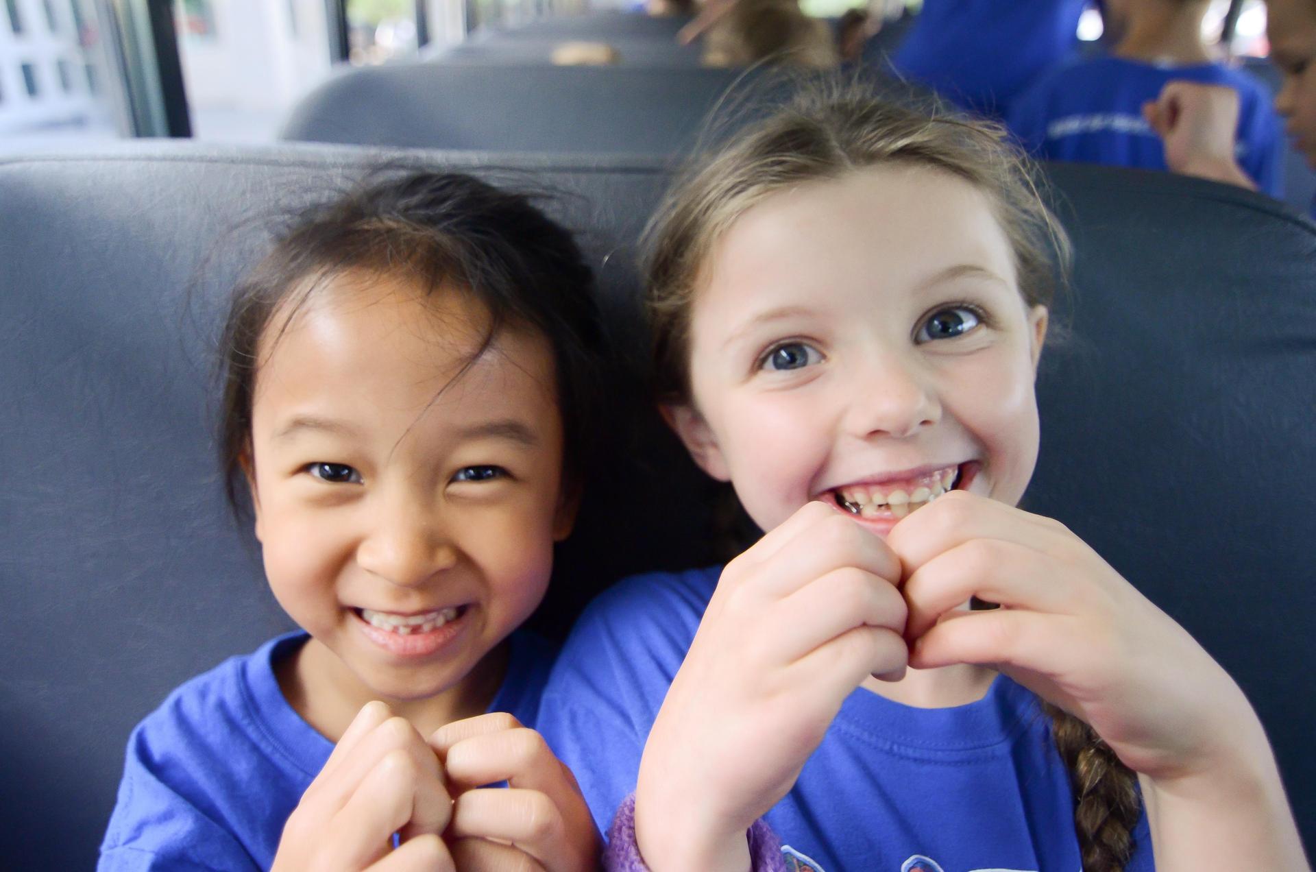 Two girls on school bus