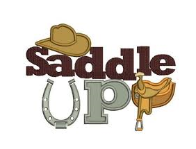 photo of a saddle with the words saddle up