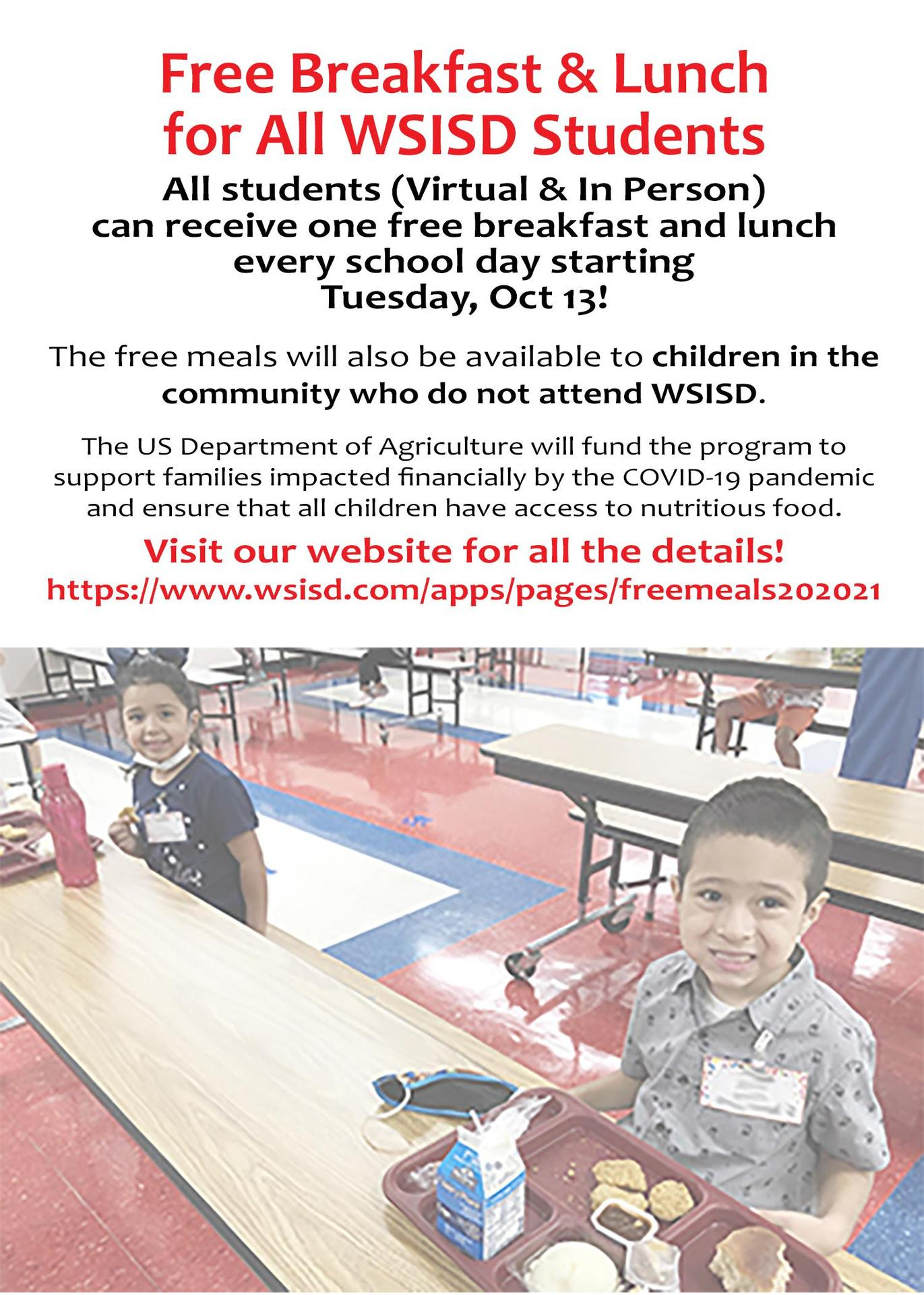Free Meals for All Students Begins Oct. 13