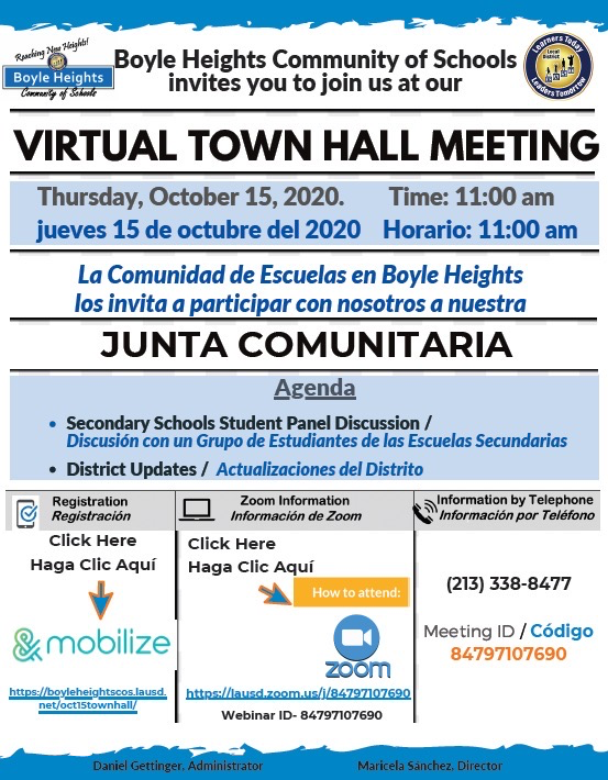 Boyle Heights Community of Schools Town Hall, Thursday Oct 15 Featured Photo